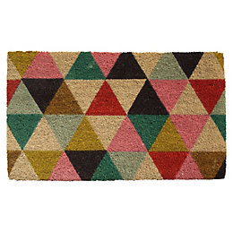 Colours Lami Multicolour Geometric Coir Door Mat (L)0.75m