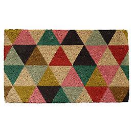 Colours Lami Multicolour Geometric Coir Door Mat (L)0.75m
