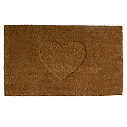 Colours Rudia Natural Heart Coir Door Mat (L)0.75m