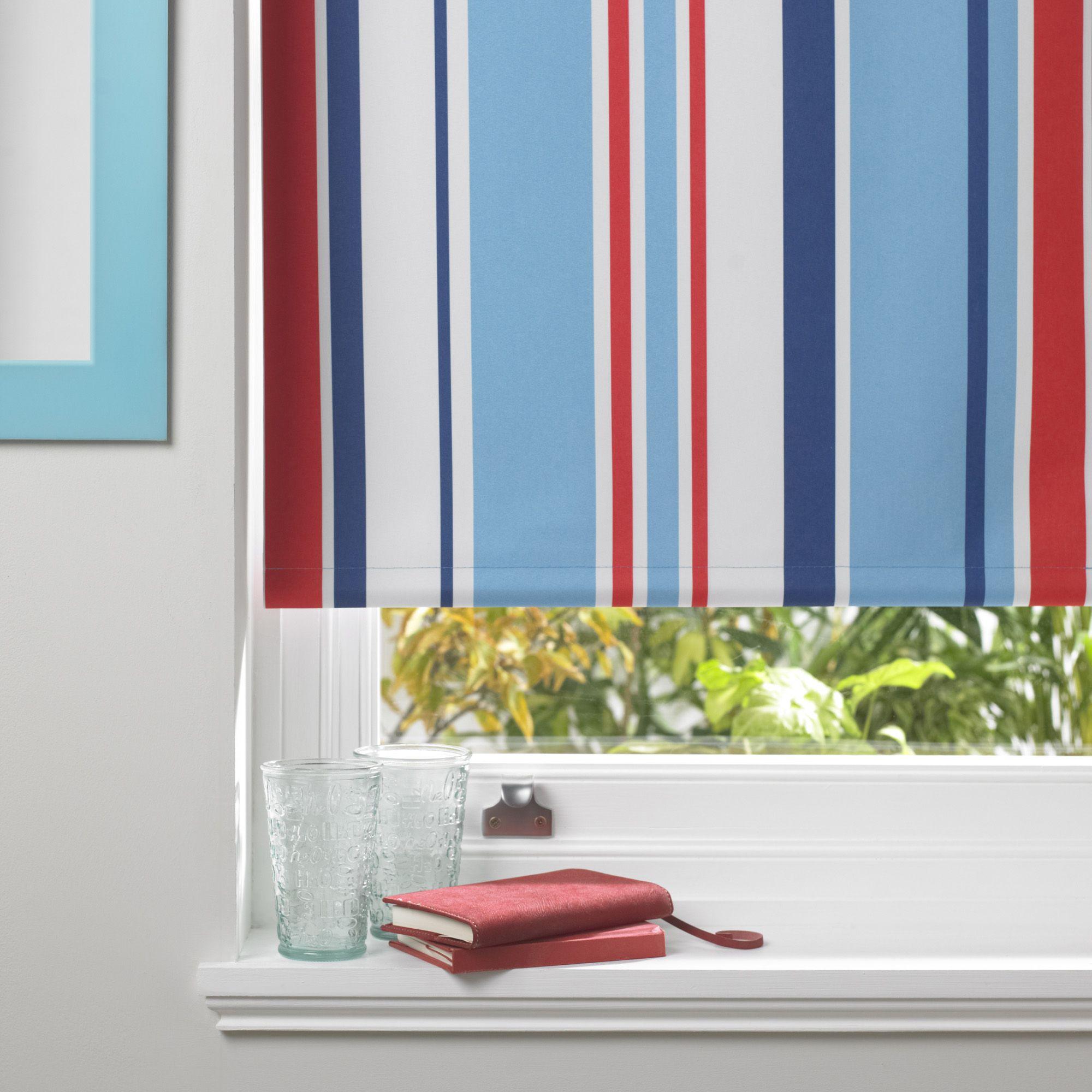 Colours Keel Corded Blue, Red & White Roller Blind (L)160 cm (W)60 ...