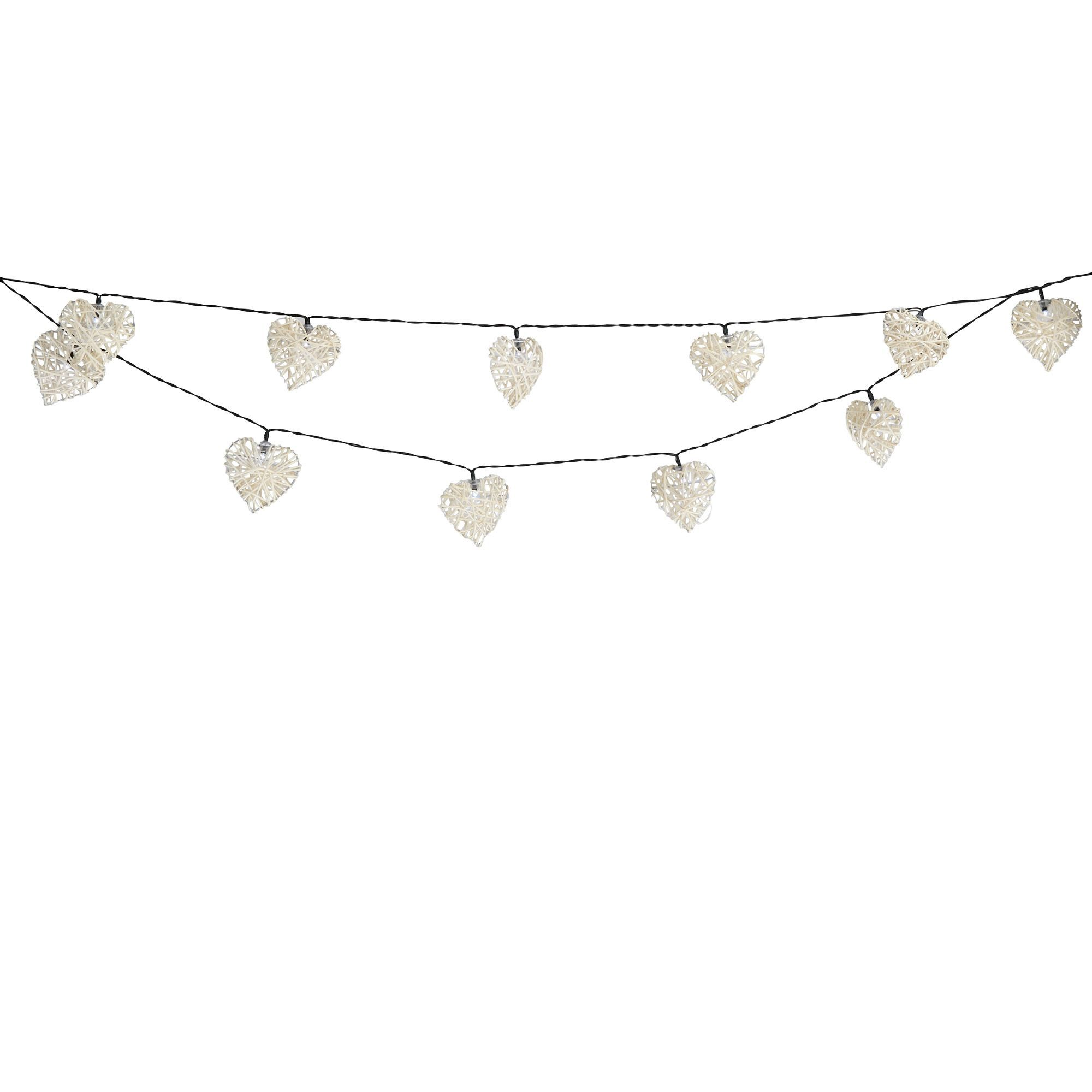 Driveway Lights B Q: Blooma Valenti Heart Solar Powered White 20 LED String