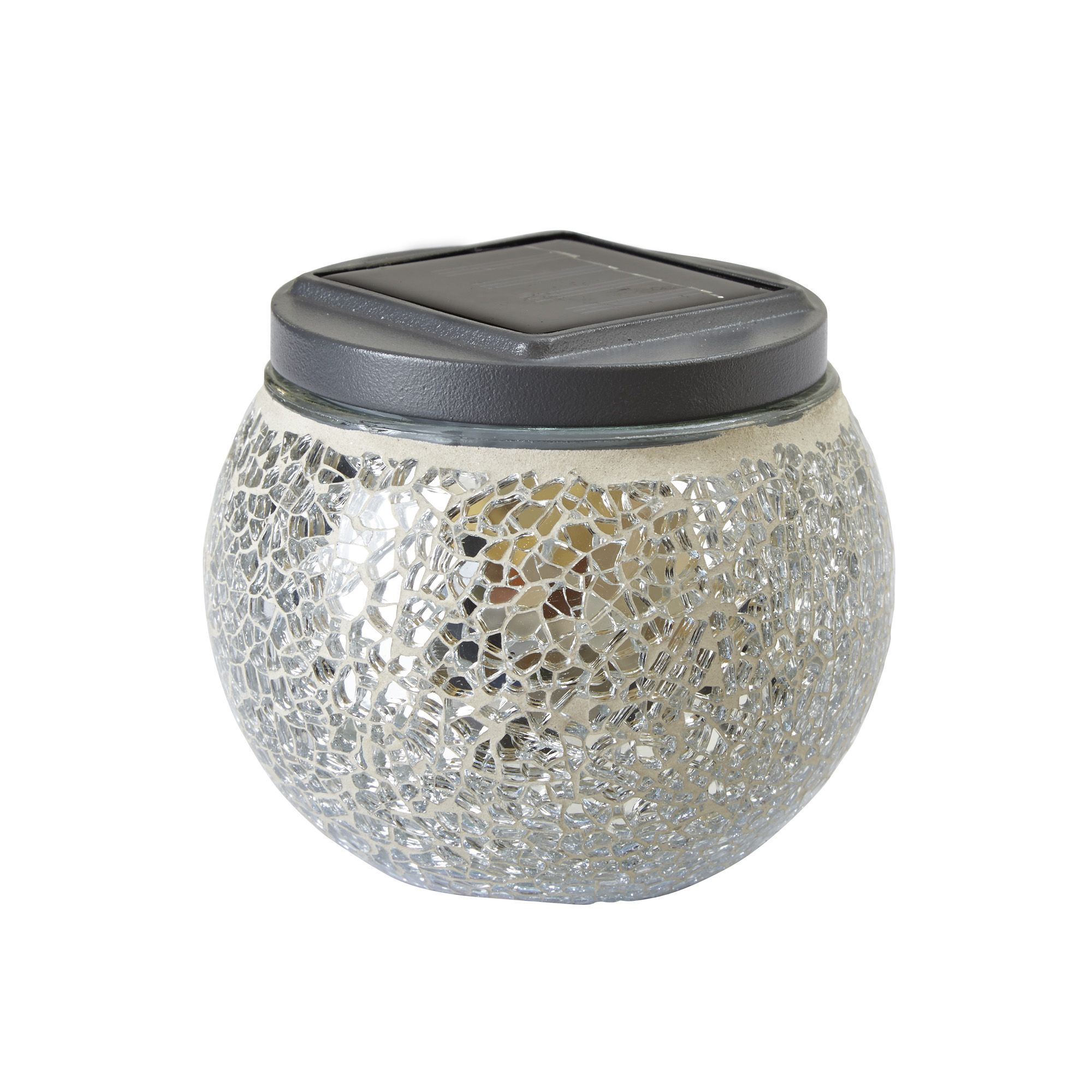 blooma eton silver effect mosaic solar powered led table lamp