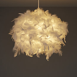 Colours Melito White Feather Ball Light Shade (D)250mm
