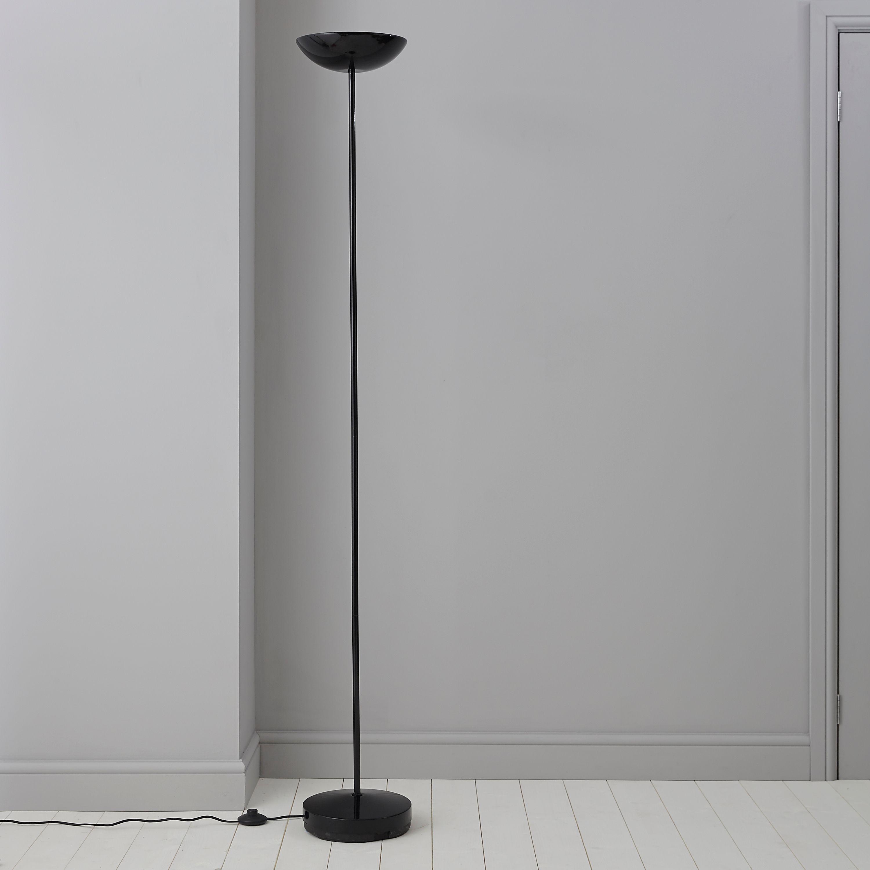 Black uplighter floor lamp departments diy at bq aloadofball Gallery