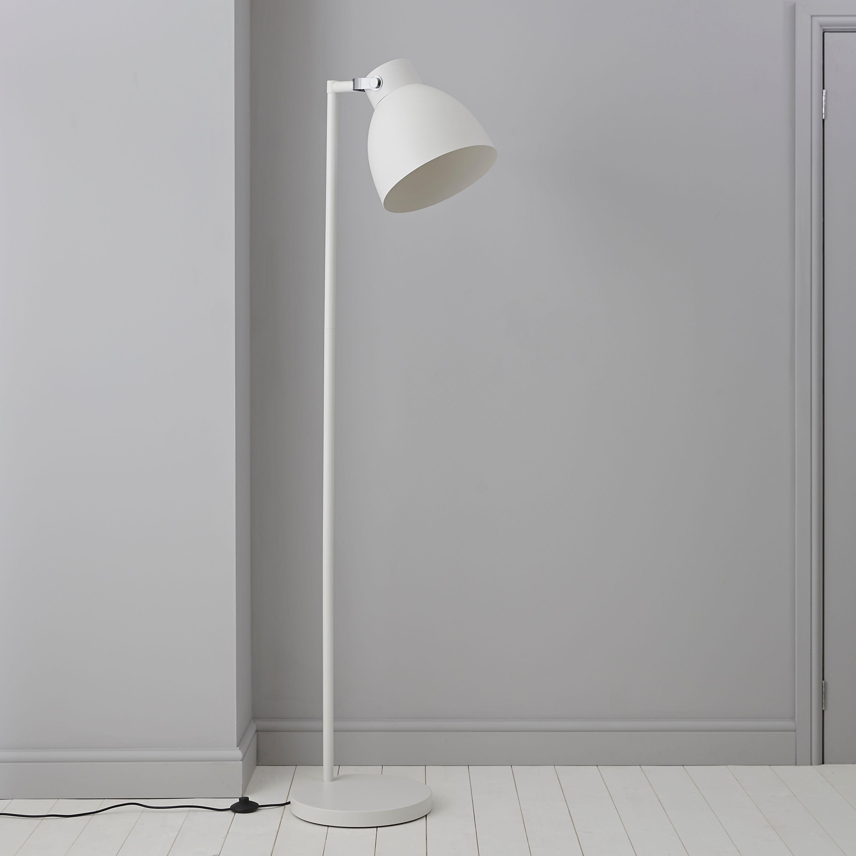 Tibbon White Chrome Effect Floor Lamp | Departments | DIY at B&Q