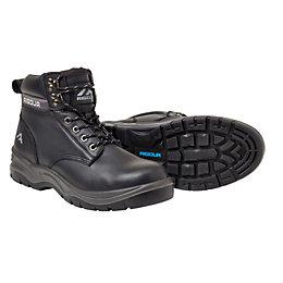 Rigour Black Safety Work Boots, Size 8