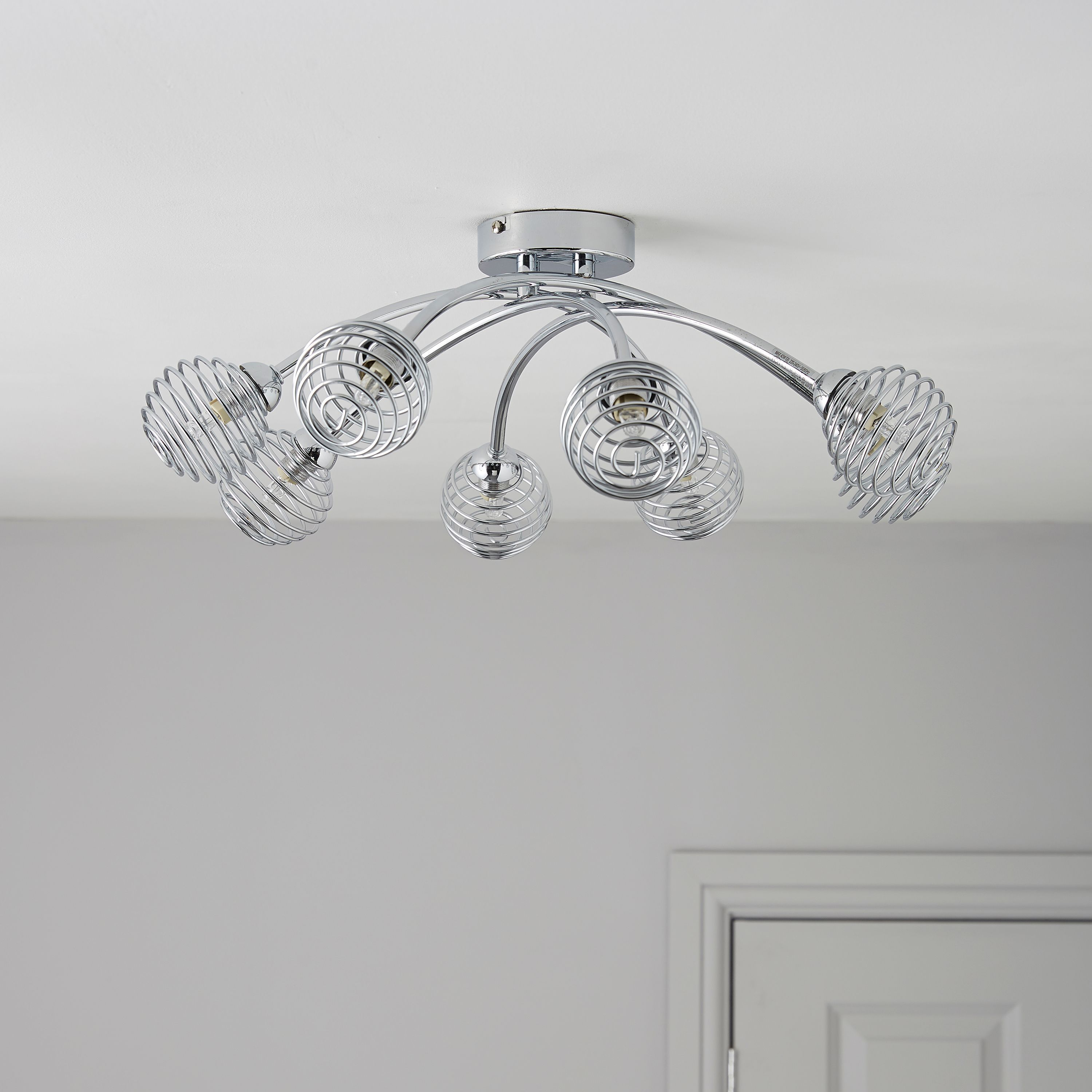 Karli chrome effect 8 lamp ceiling light departments diy at bq mozeypictures Choice Image
