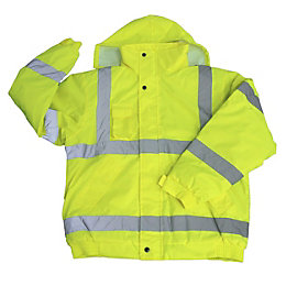 Diall Yellow Waterproof Hi-Vis Bomber Jacket Medium