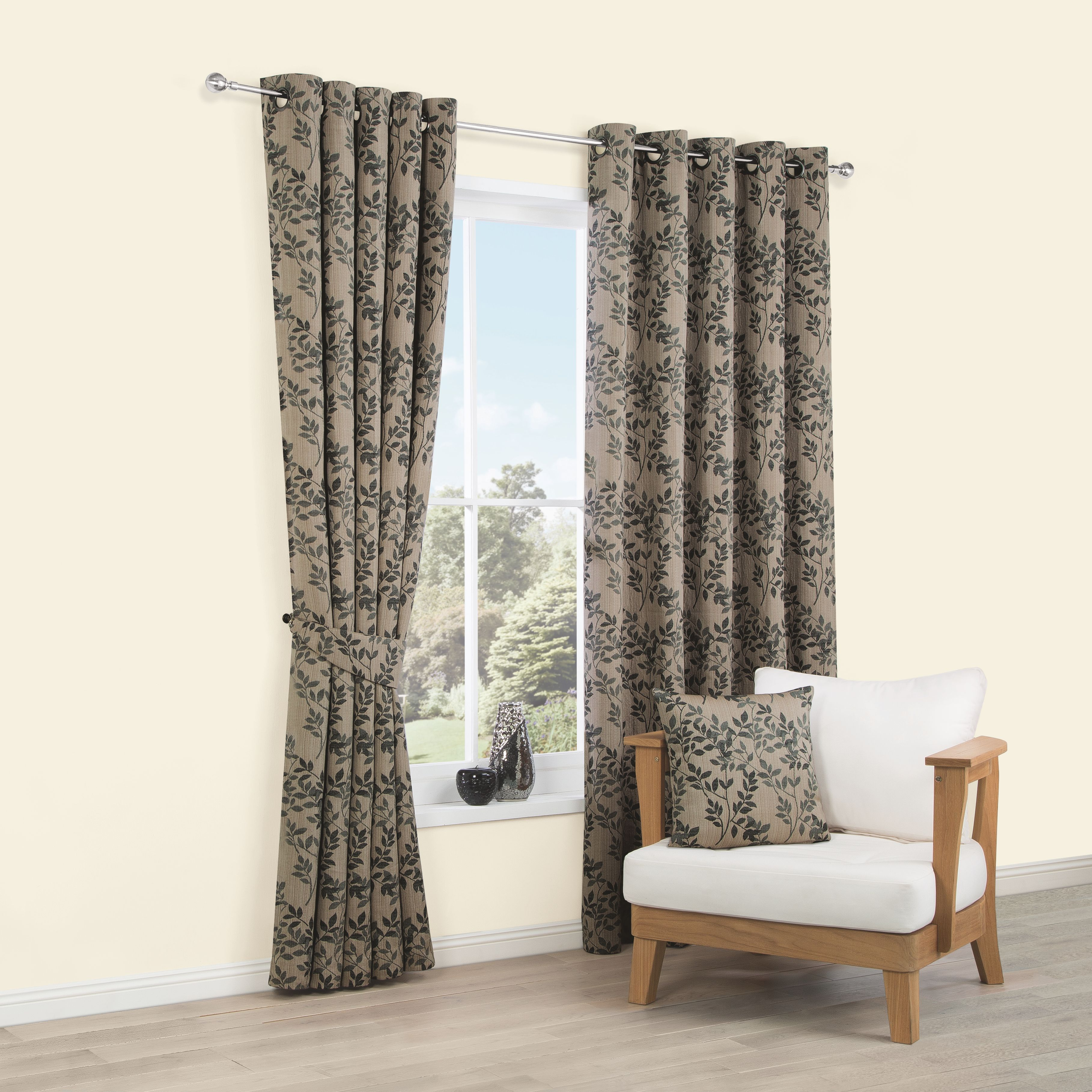 Walton Black Natural Cream Leaves Jacquard Woven Eyelet Lined Curtains W167 Cm L228