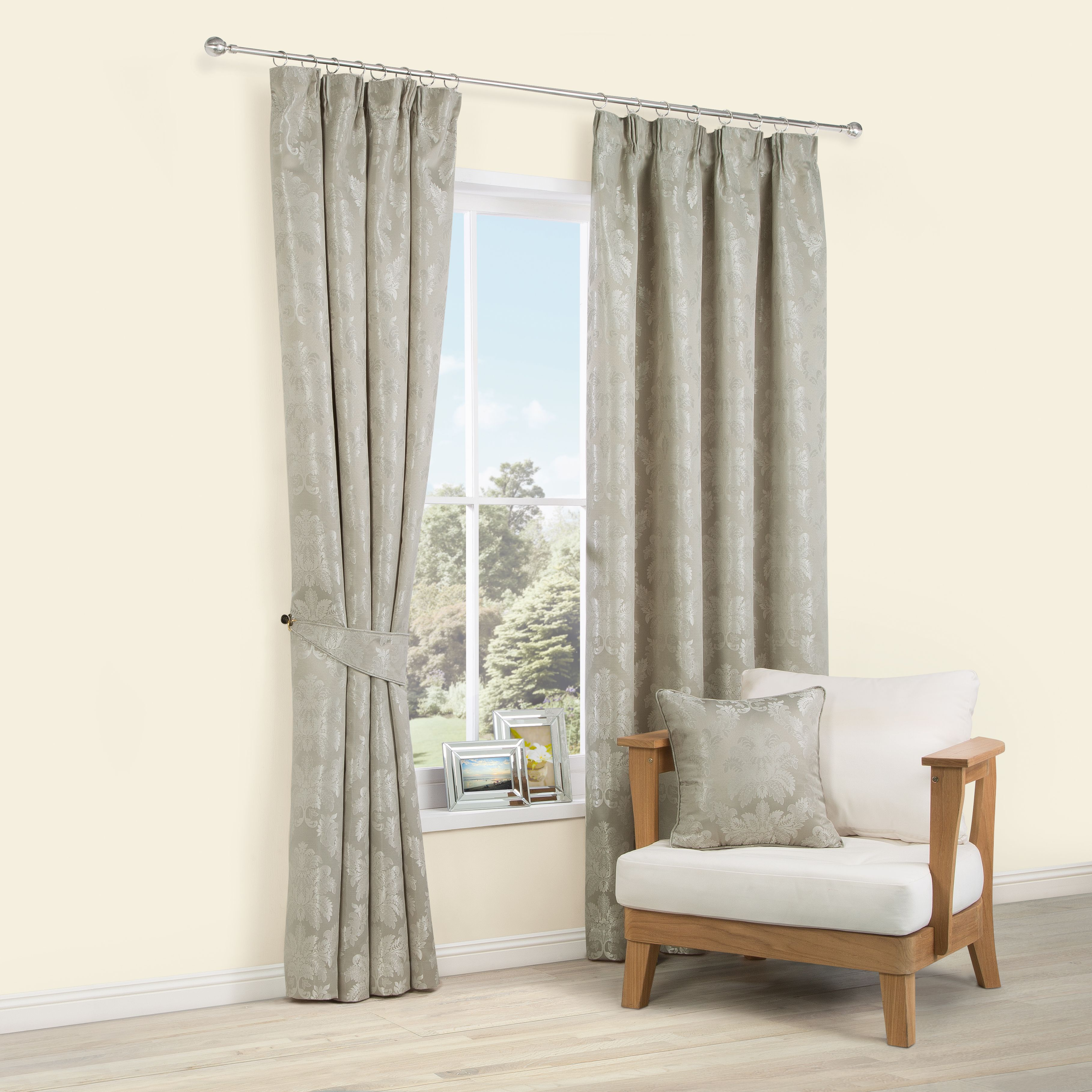 Sulivan Silver Effect Damask Pencil Pleat Lined Curtains (W)228 cm ...