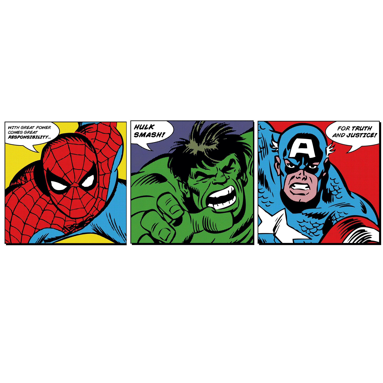 Marvel Faces Multicolour Wall Art Set W 300mm H 300mm