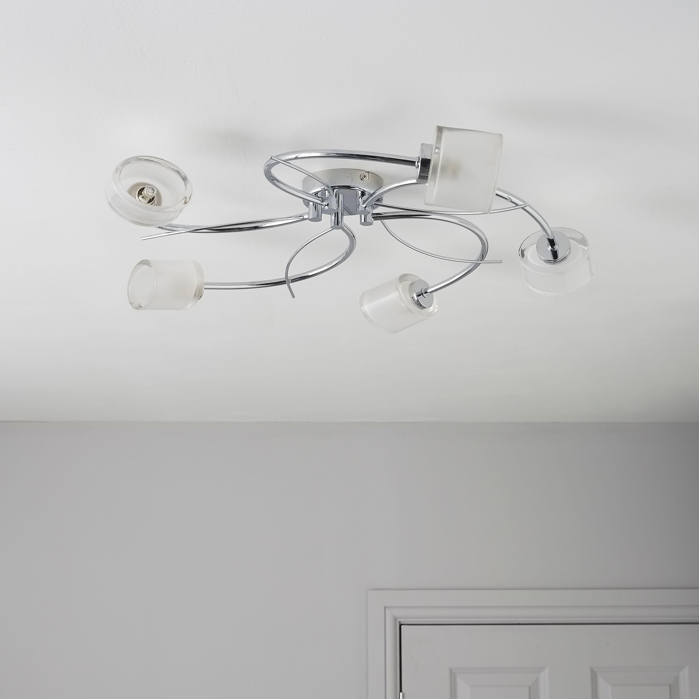 Ferro Spiral Chrome Effect 5 Lamp Ceiling Light