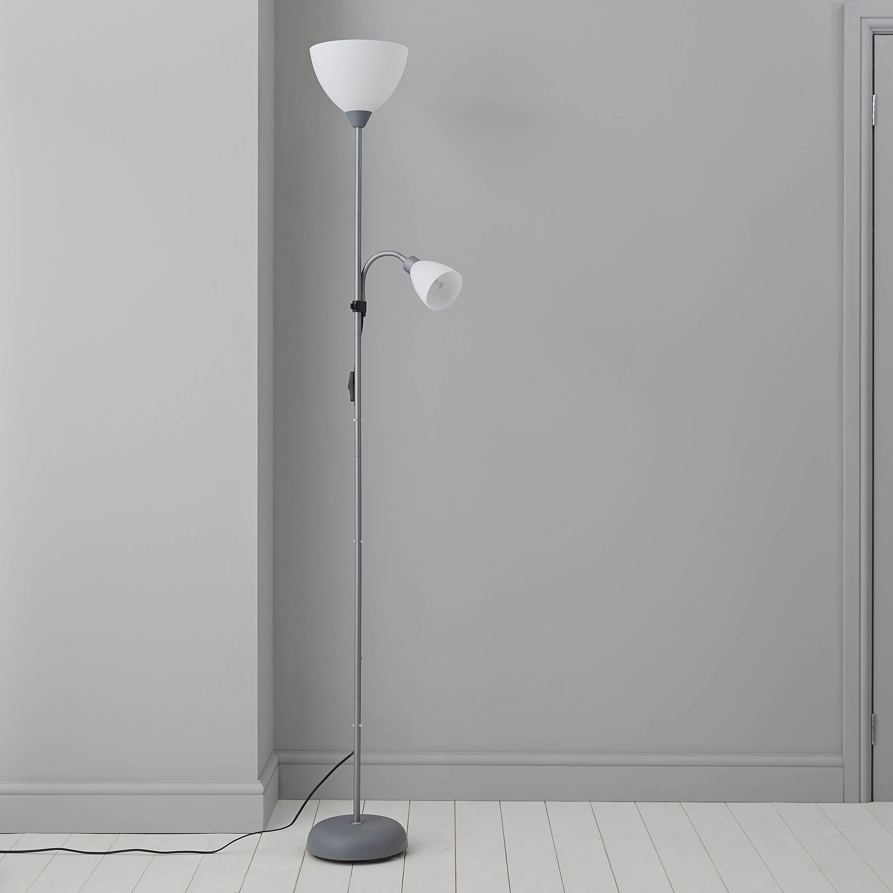 Value white floor lamp departments tradepoint mozeypictures Image collections