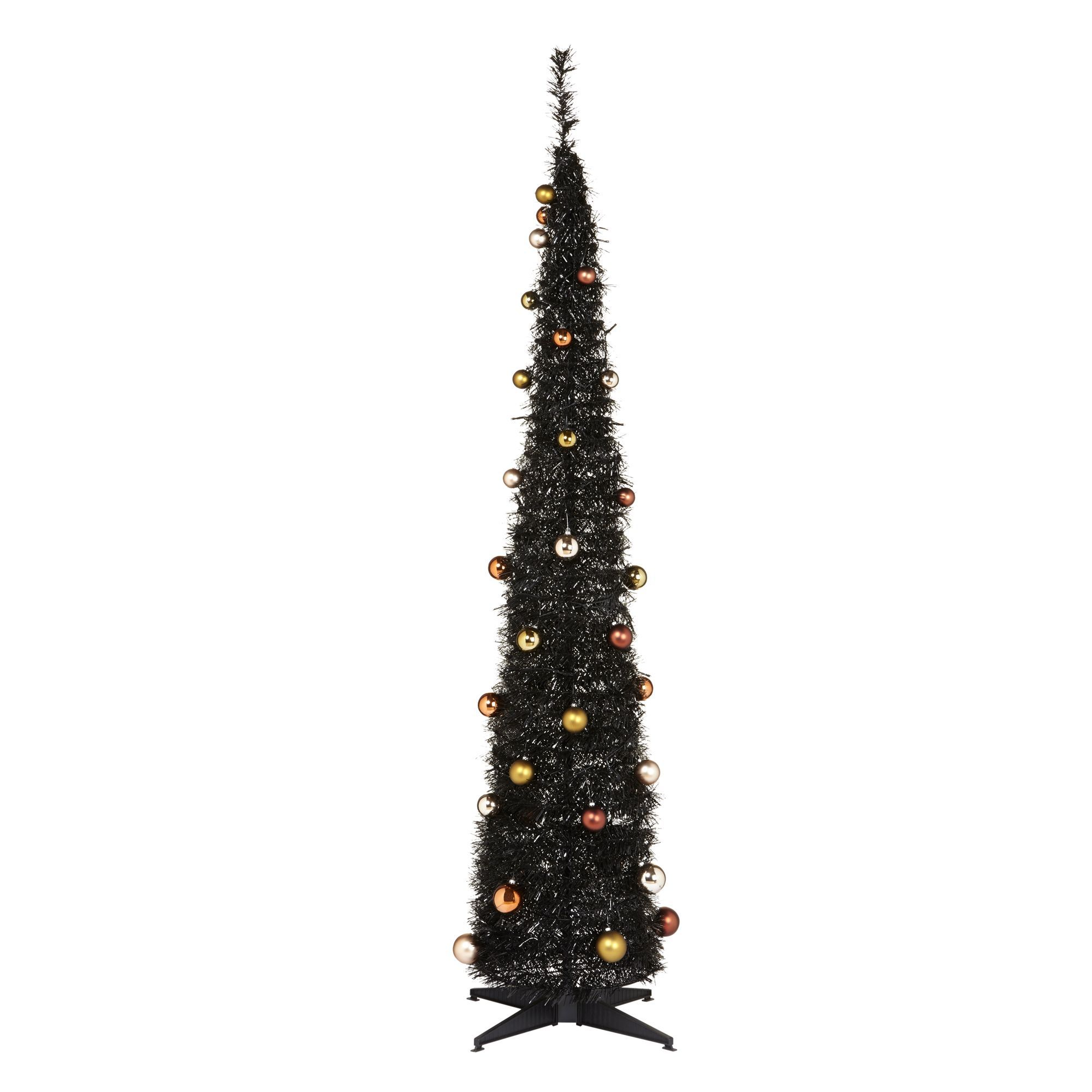 6 ft Black pop-up Black Pre-decorated Christmas tree | Departments ...
