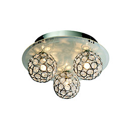 Chameleon Crystal Circle Colour Changing 3 Lamp Ceiling
