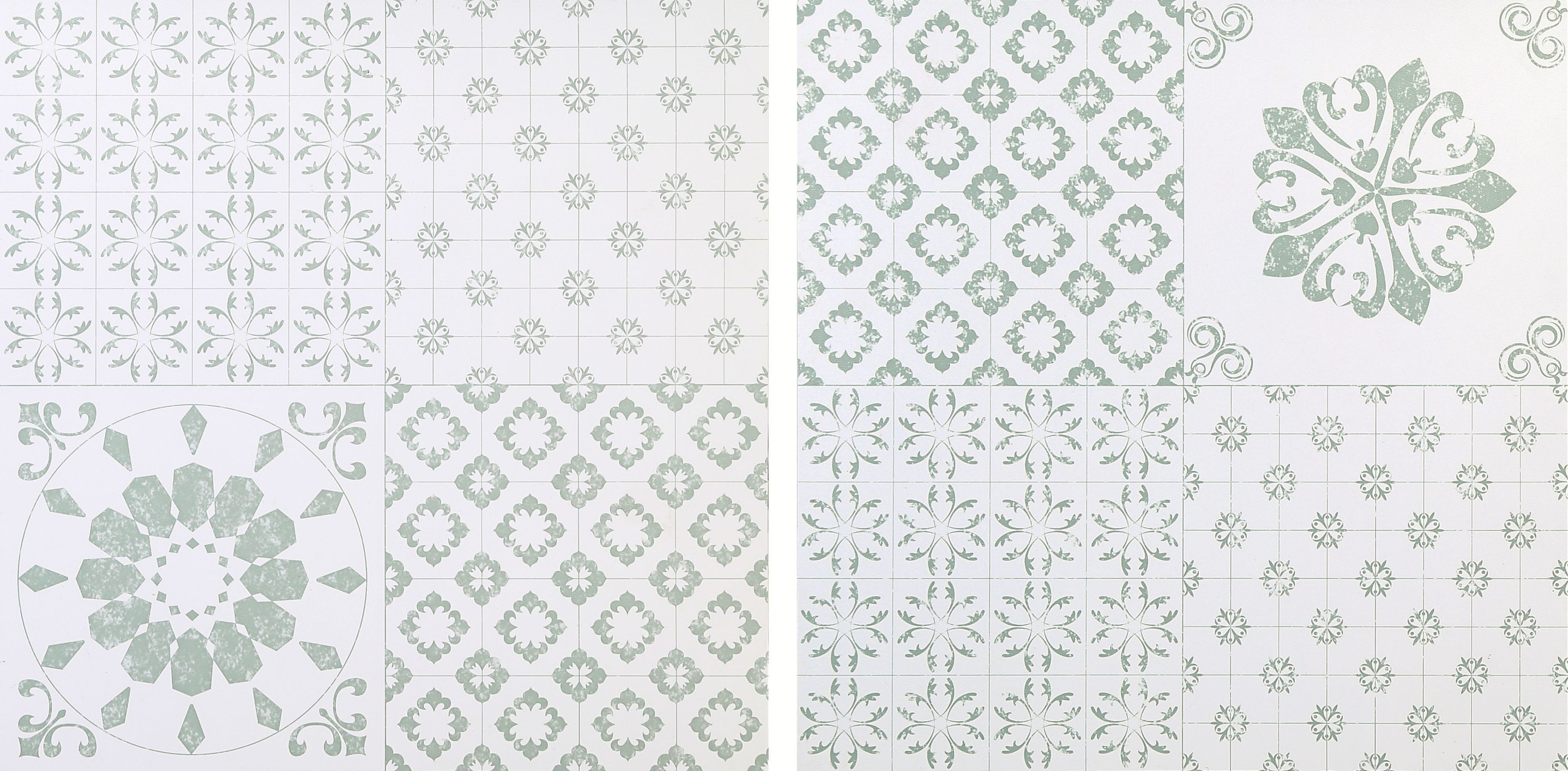 Colours Green & White Patchwork Effect Self Adhesive Vinyl Tile 1.02 ...