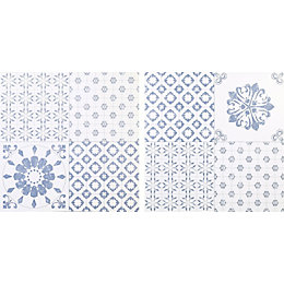 Colours Blue & white Patchwork effect Self adhesive