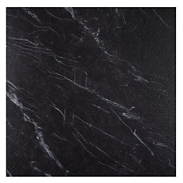 Colours Black Marble Effect Self Adhesive Vinyl Tile