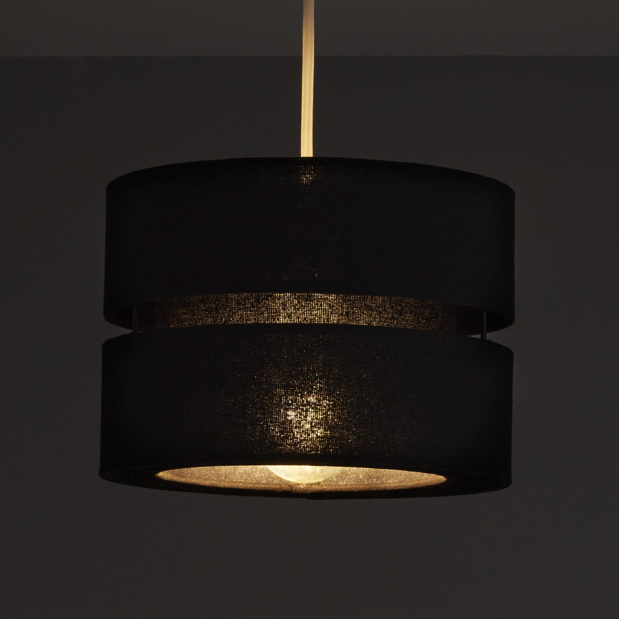 Colours Duo Black 2 Tier Lamp Shade (D)220mm