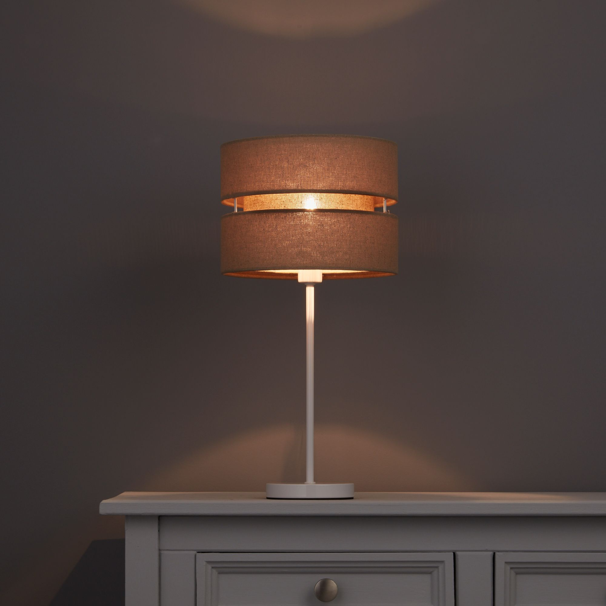 Colours Duo Taupe 2 Tier Lamp Shade (D)220mm