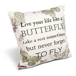 Delphine 'Live Your Life' Slogan Natural Cushion