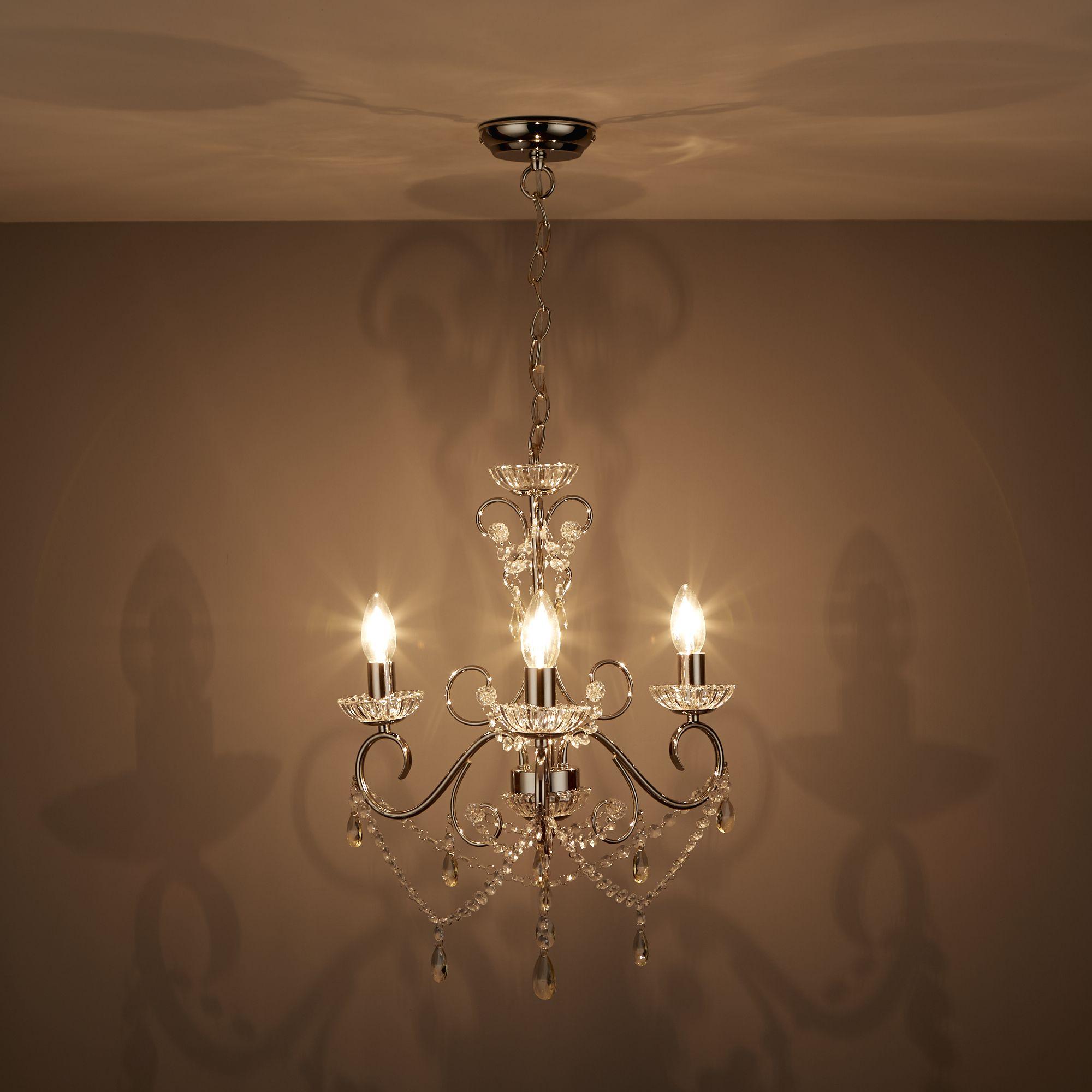 Chandelier Lighting B Q: Chesworth Chandelier Nickel Effect 3 Lamp Ceiling Light