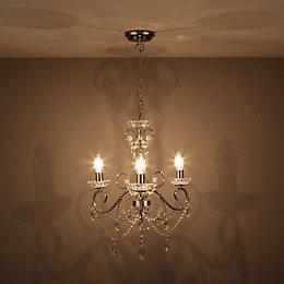 Chesworth Chandelier Nickel Effect 3 Lamp Ceiling Light