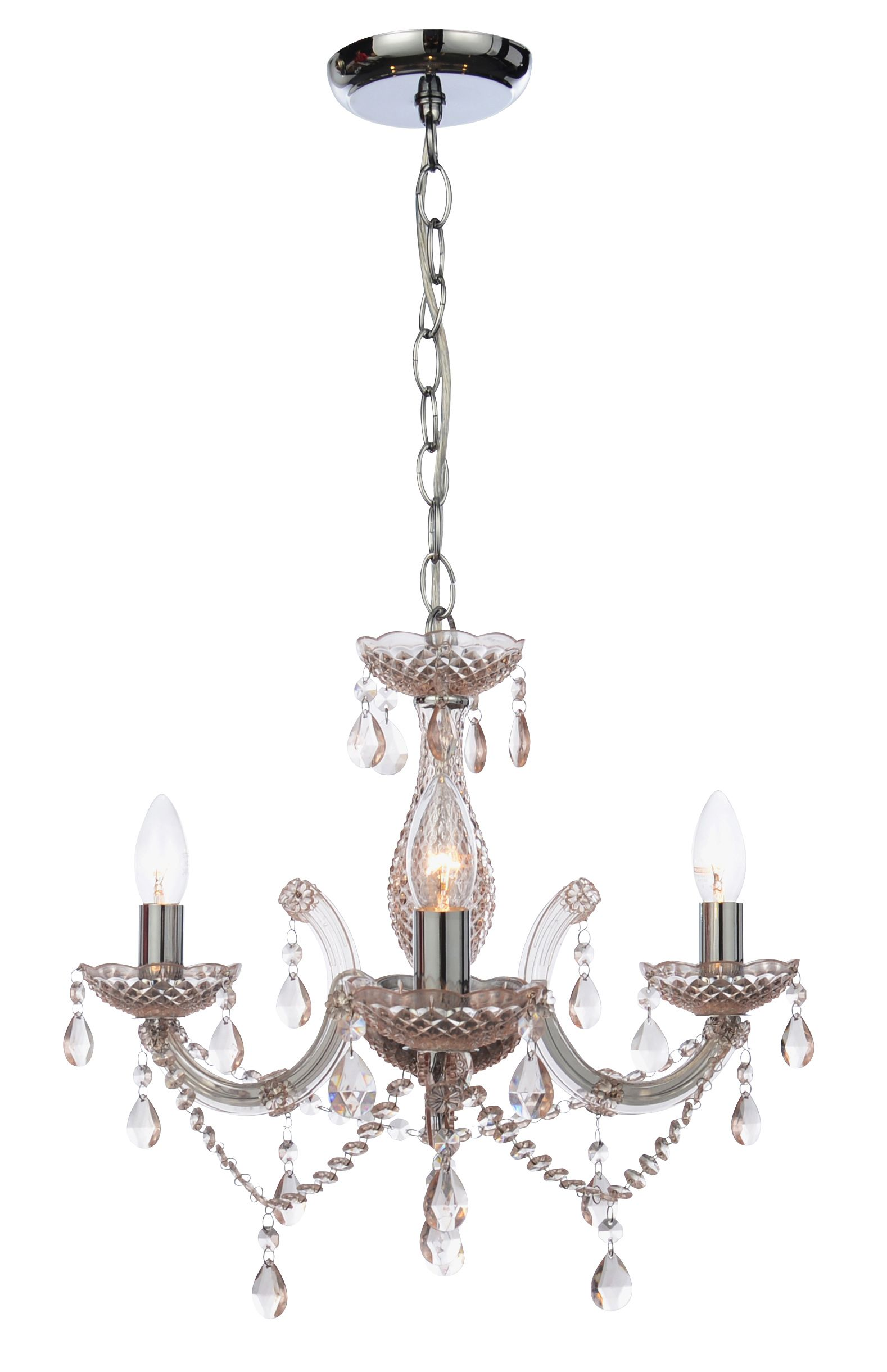 Annelise Crystal Droplets Pink 3 Lamp Pendant Departments