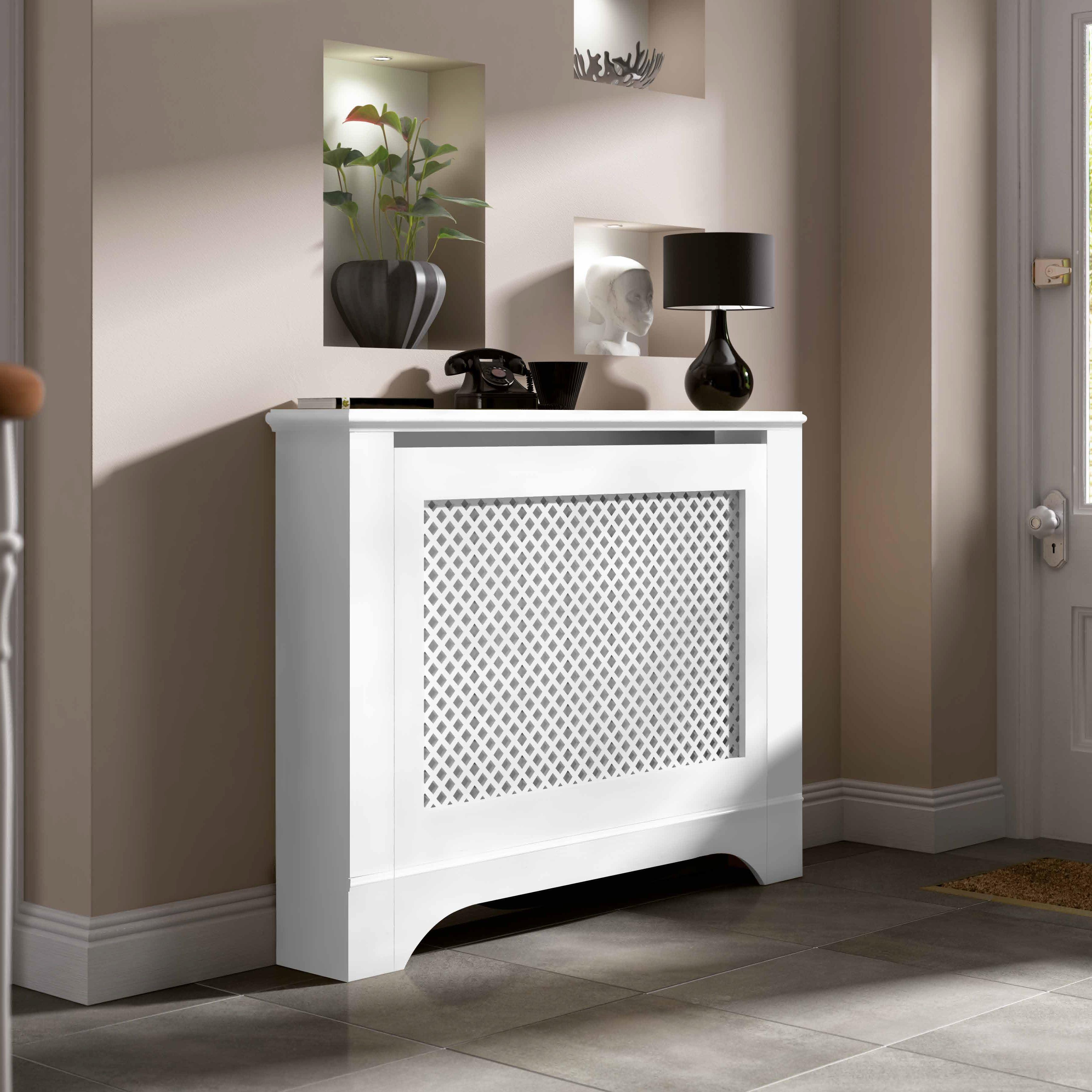 mayfair medium white painted radiator cover departments. Black Bedroom Furniture Sets. Home Design Ideas