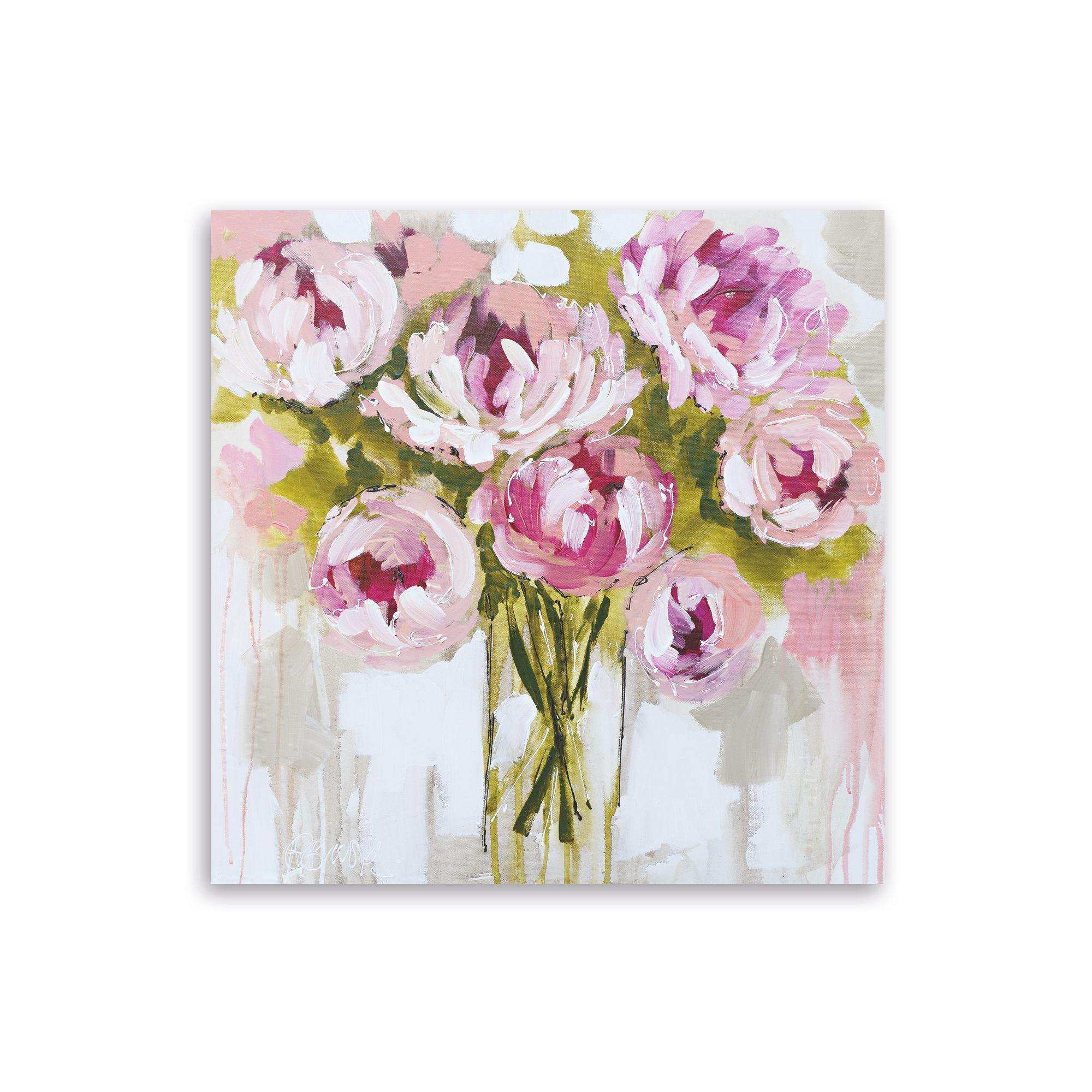 floral pink canvas art w 900mm h 900mm departments diy at b q