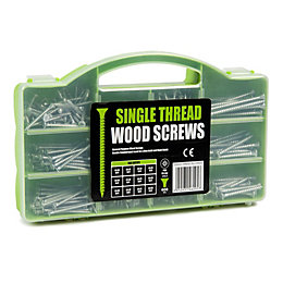 B&Q Carbon Steel Single Thread Woodscrews, Pack of