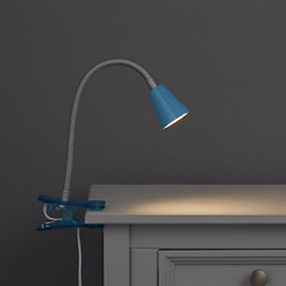 Koro Goose Neck River Blue Clip-On Desk Lamp