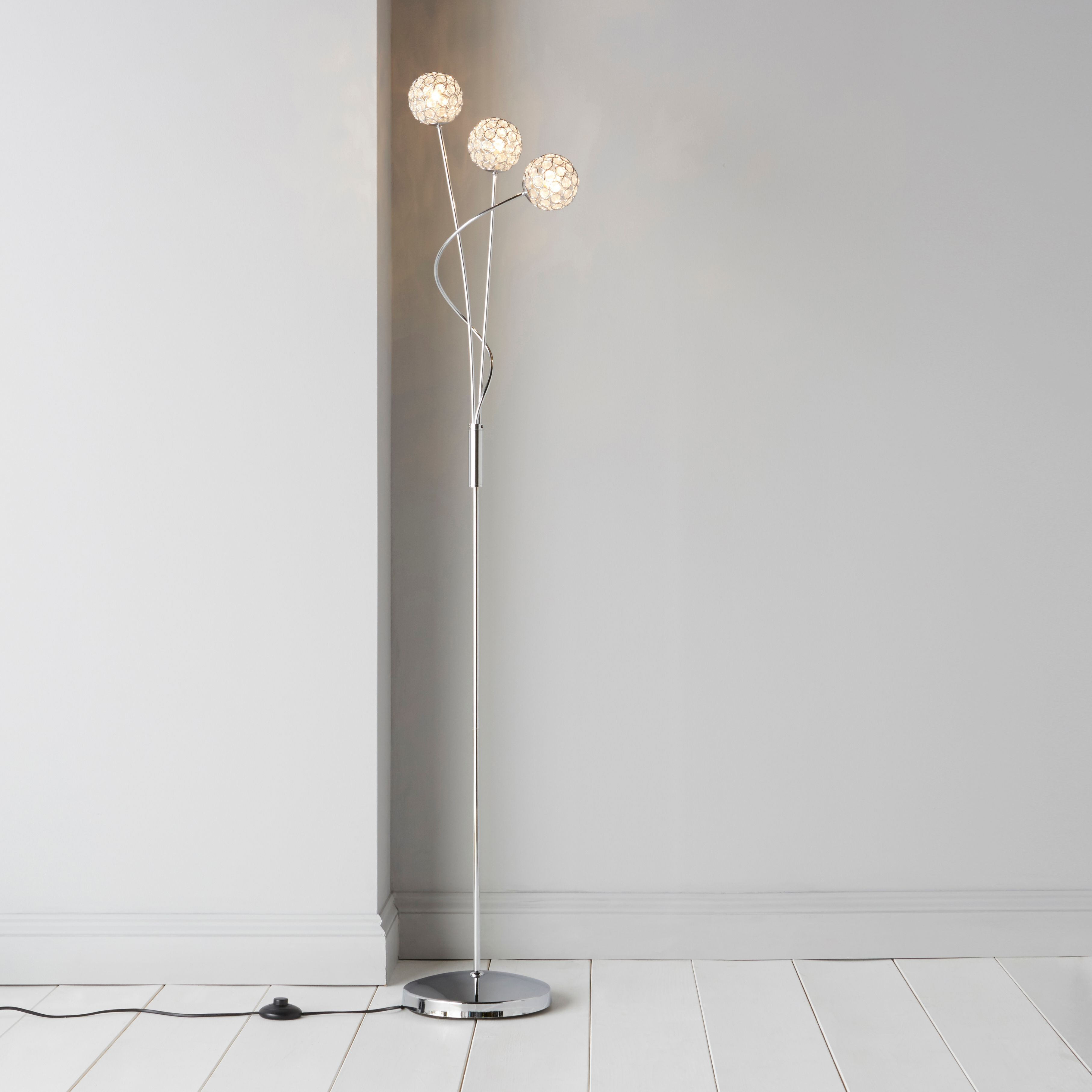 Lopez crystal circle silver chrome effect floor lamp departments lopez crystal circle silver chrome effect floor lamp departments diy at bq aloadofball Image collections