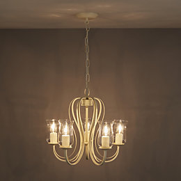 Chateau Cream Porcelain Effect 5 Lamp Pendant Ceiling