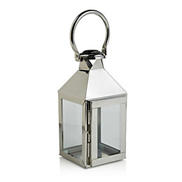 Colours Chrome effect Glass & steel Hurricane lantern,