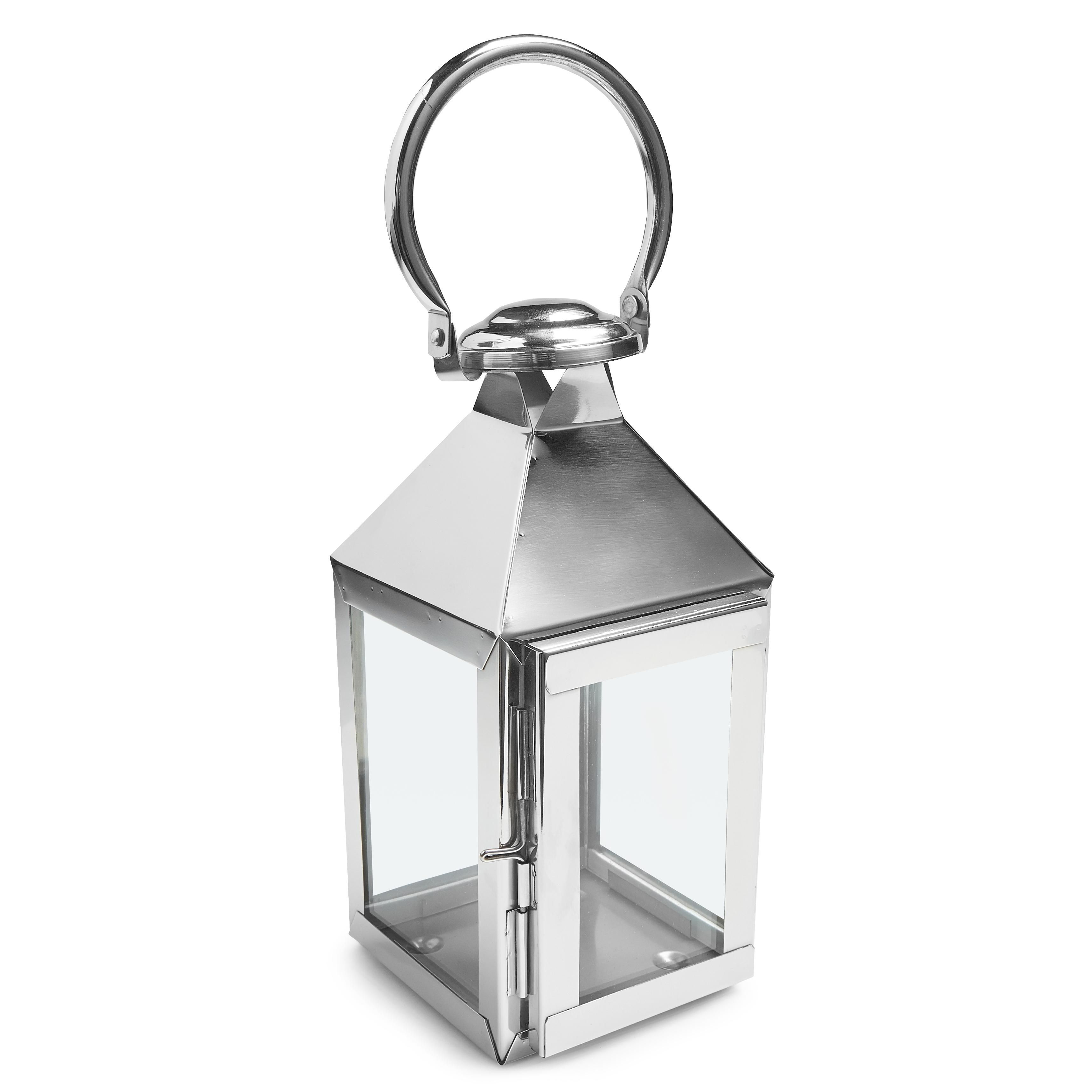 Colours Chrome Effect Metal Amp Glass Lantern Small