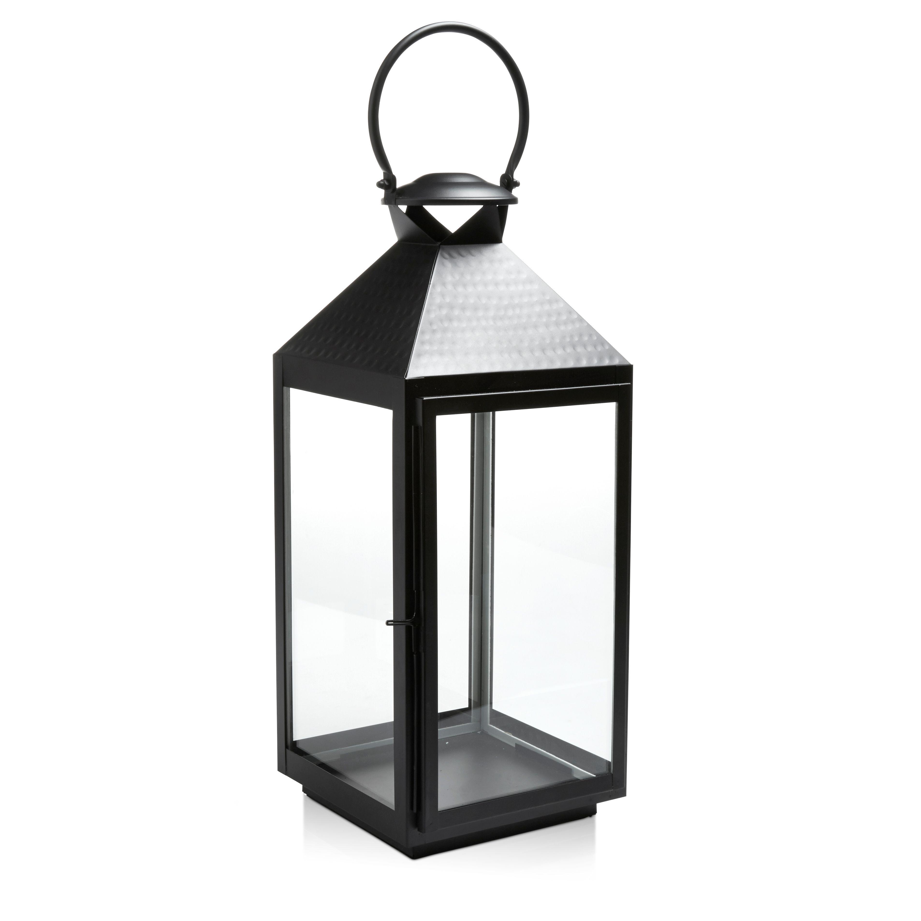 Solar Lights B Q: Black Iron & Glass Hurricane Lantern, Large