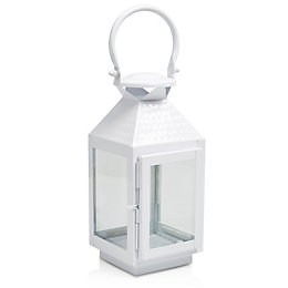 Colours White Matt Metal & Glass Lantern, Small