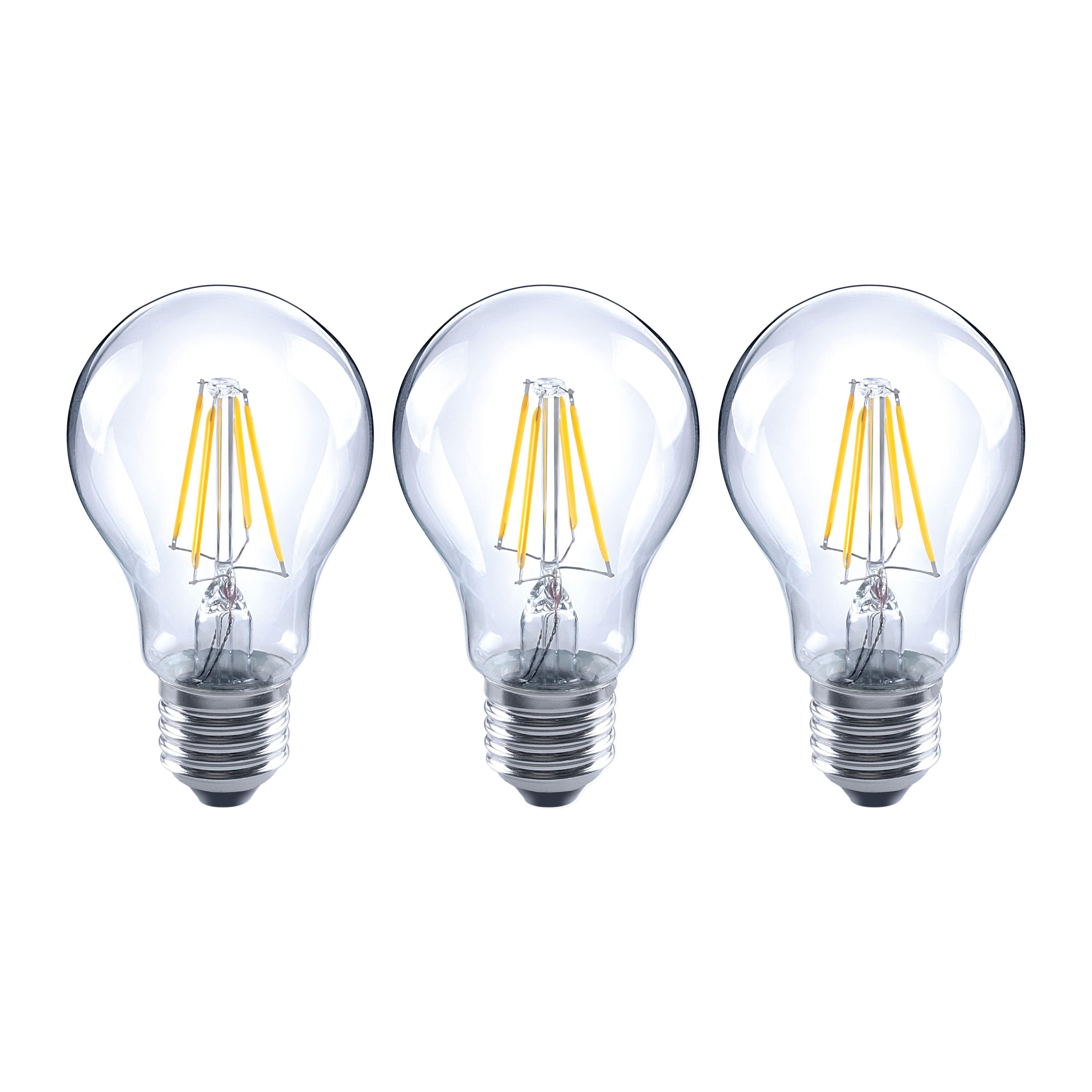 diall e27 4w led filament gls light bulb pack of 3