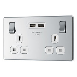 Colours 13A Polished chrome Switched Double Socket &