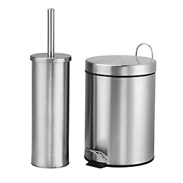 Carla Silver Brushed Chrome Pedal Bin & Toilet