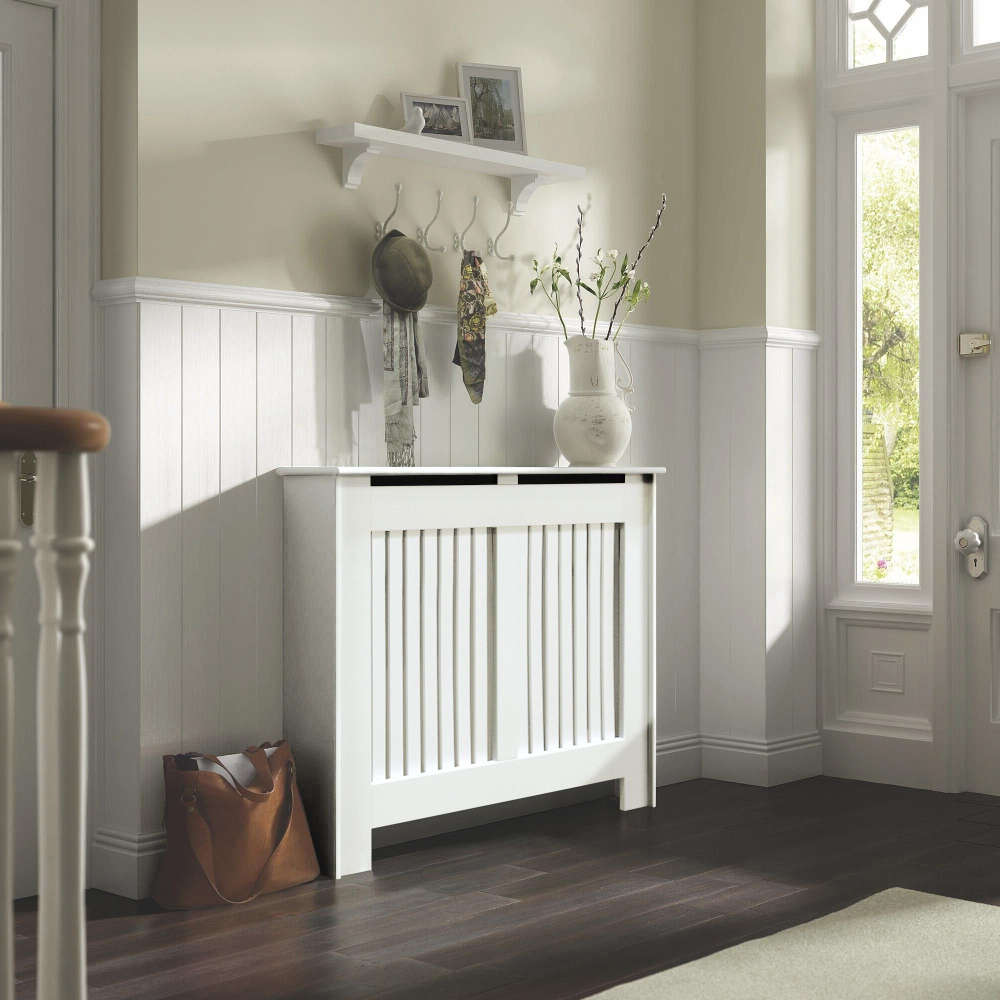 Kensington medium white painted radiator cover for B q living room shelves