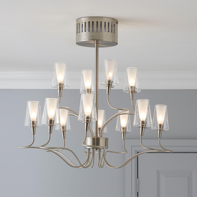 Helges Brushed Chrome Effect 12 Lamp Chandelier Departments Diy At B Q