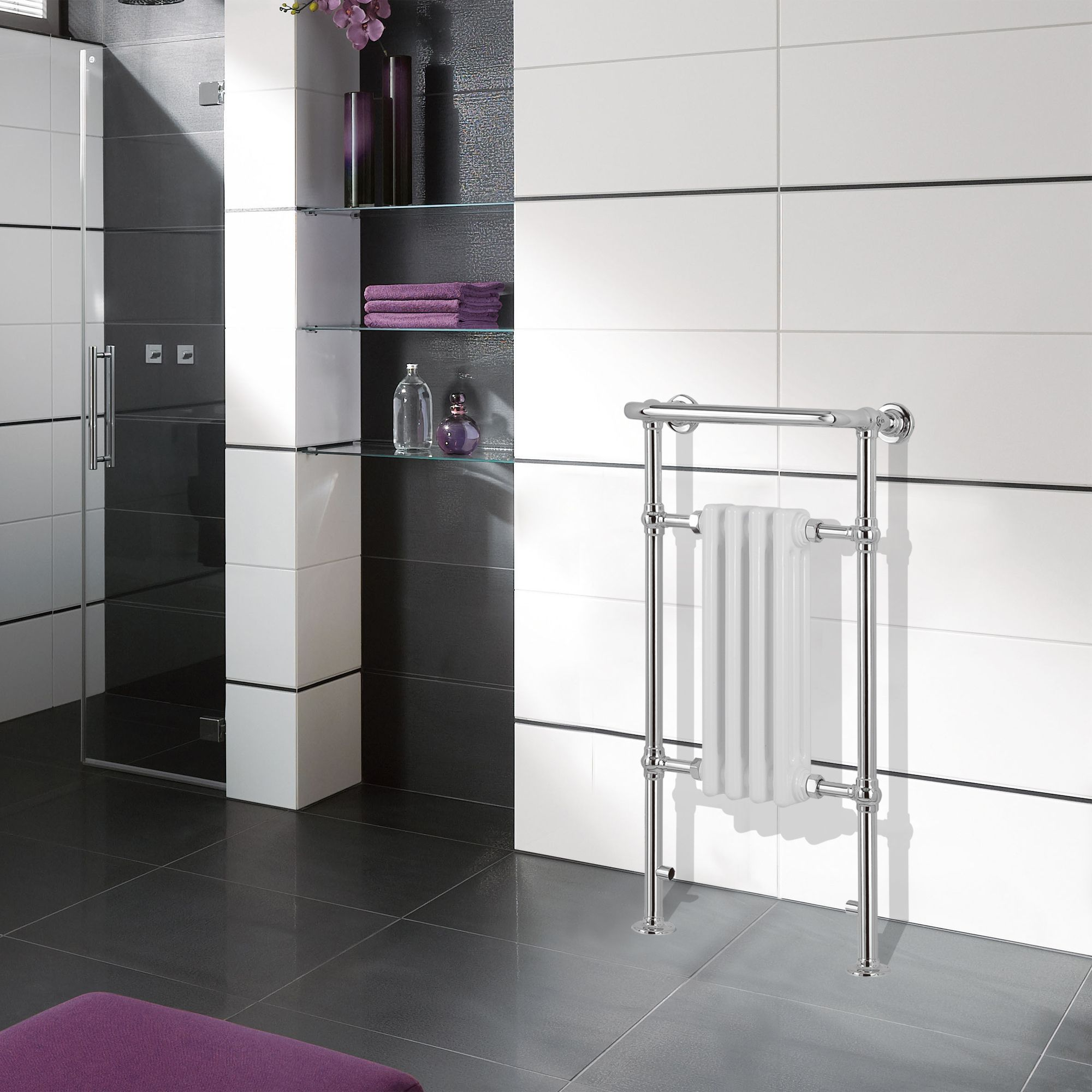 Traditional Towel warmer (H)952mm (W)479mm | Departments ...