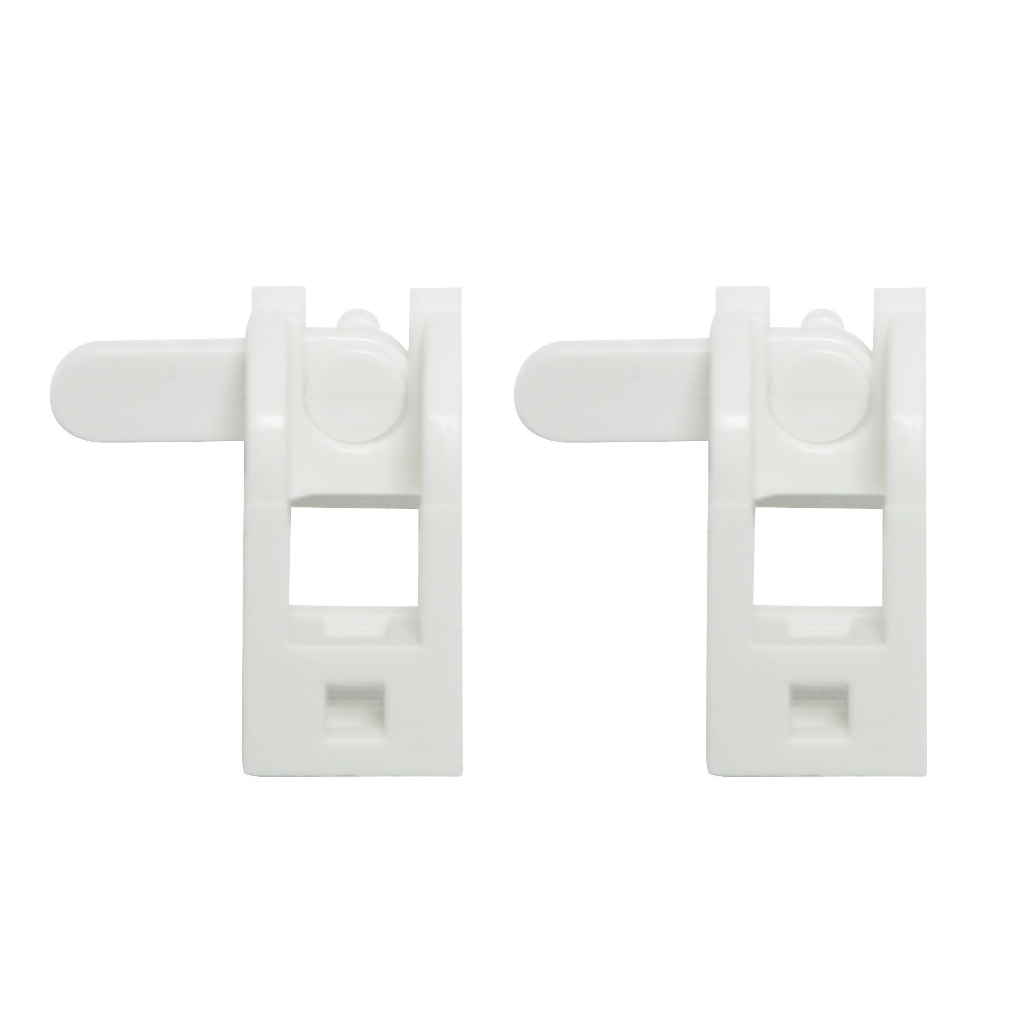 white plastic curtain track bracket l 49mm pack of 2. Black Bedroom Furniture Sets. Home Design Ideas