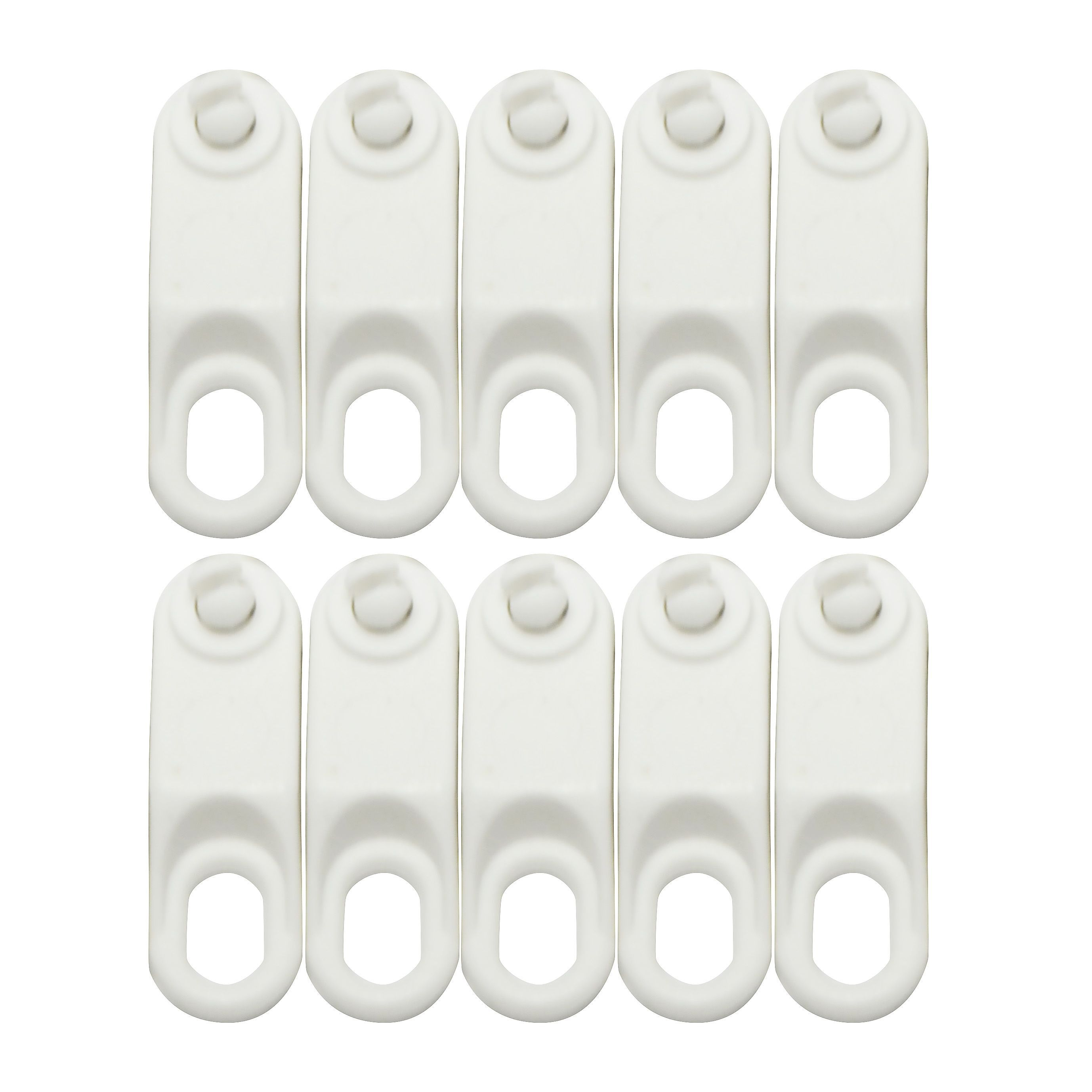 White Plastic Curtain Track Glide Hook L115mm Pack Of 10