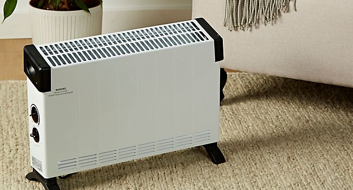 Electric 2000W white and black convector heater