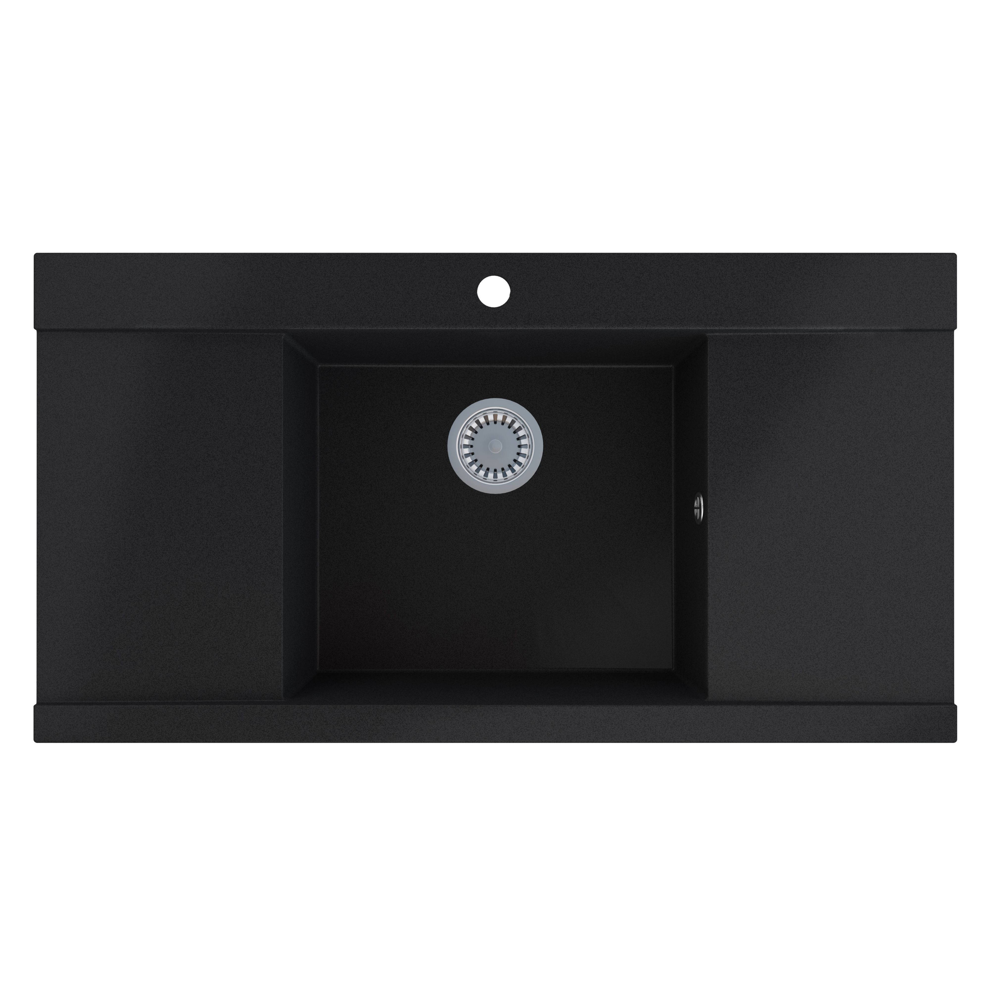Cooke And Lewis Kitchen Sinks Cooke lewis 1 bowl black metallic granite sink with two drainers cooke lewis 1 bowl black metallic granite sink with two drainers departments diy at bq workwithnaturefo
