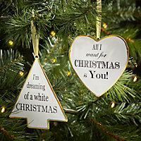 Tin Black, gold effect & white Tree Decoration