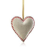 Felt Cream Heart Decoration